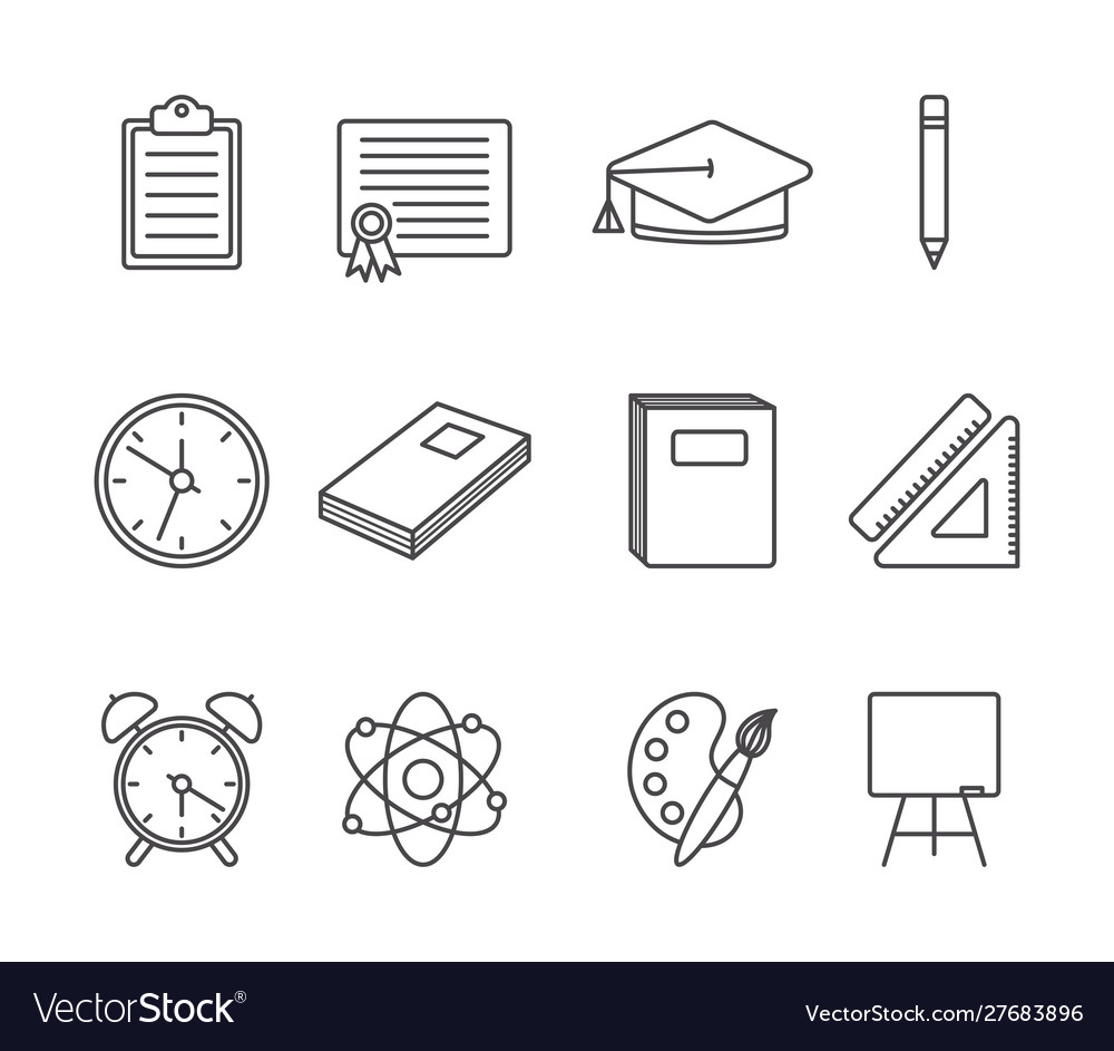 School and education icons set line style