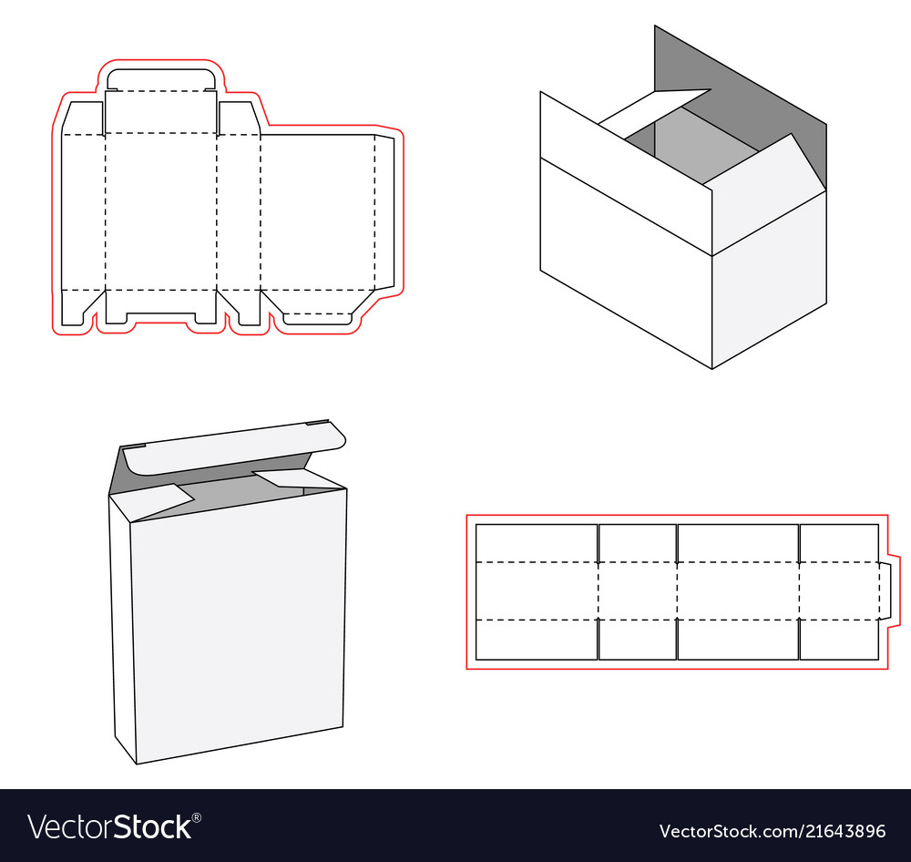 Simple box packaging die cut out template design Vector Image