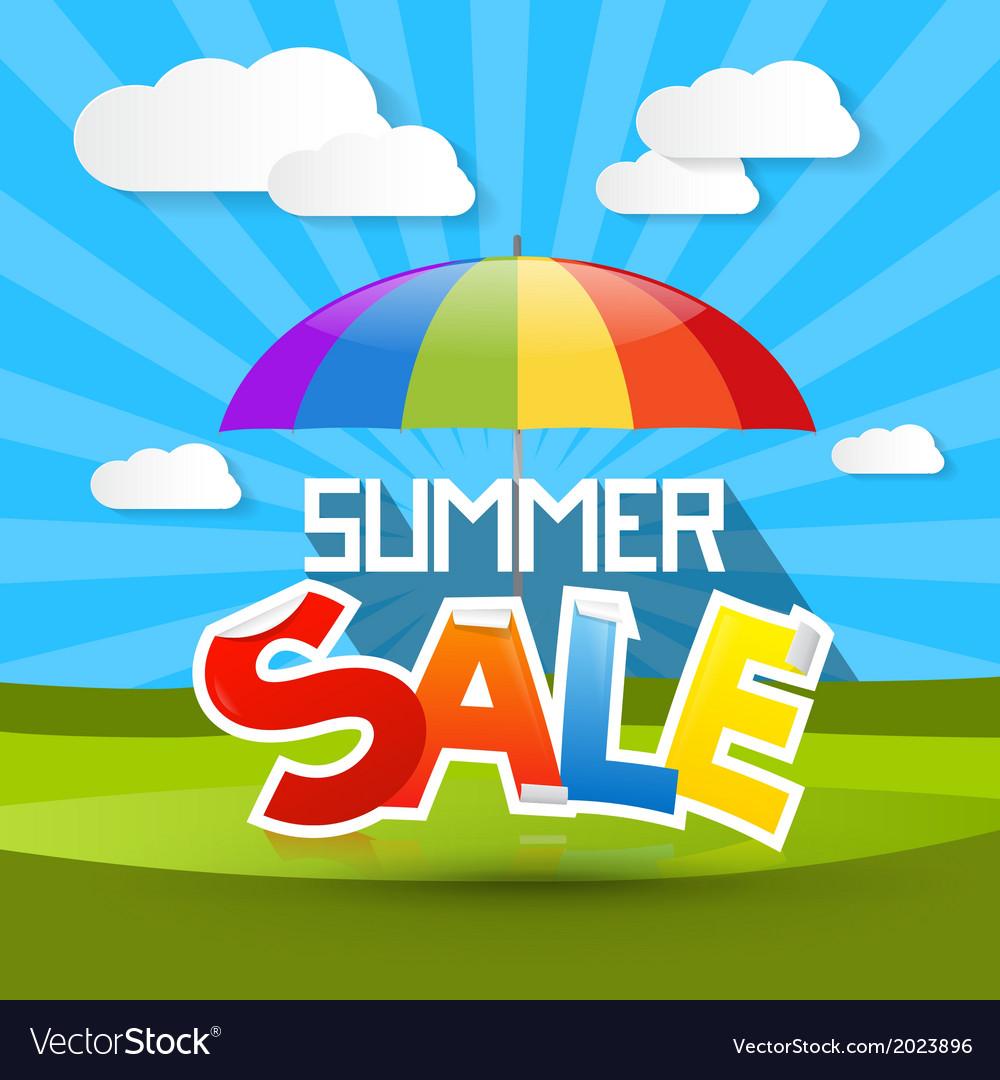 Summer Sale With Colorful Parasol Umbrella Cloud
