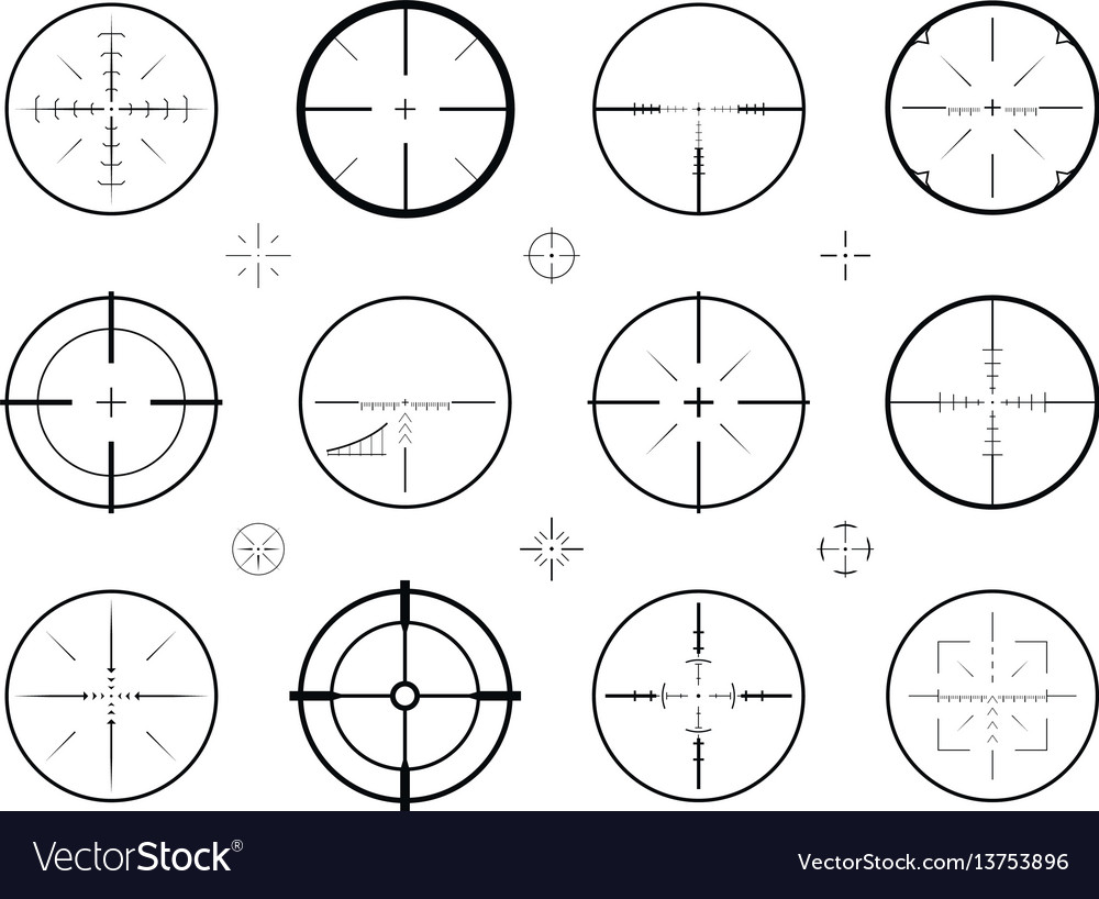 Target sight sniper set of icons hunting rifle