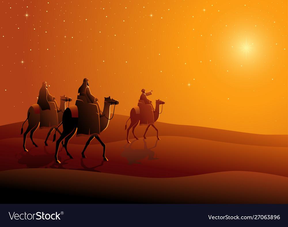 Three wise men journey to bethlehem