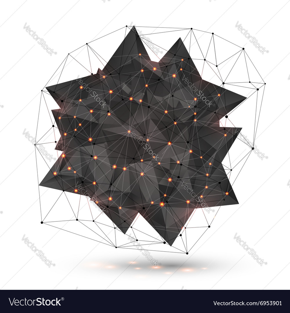Abstract low poly black object with polygonal grid