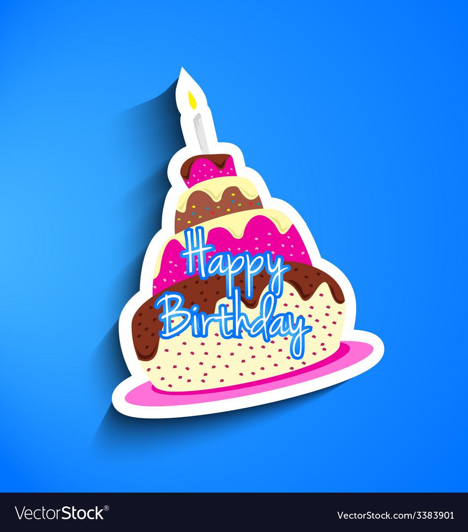 Birthday Cake Sticker Royalty Free Vector Image