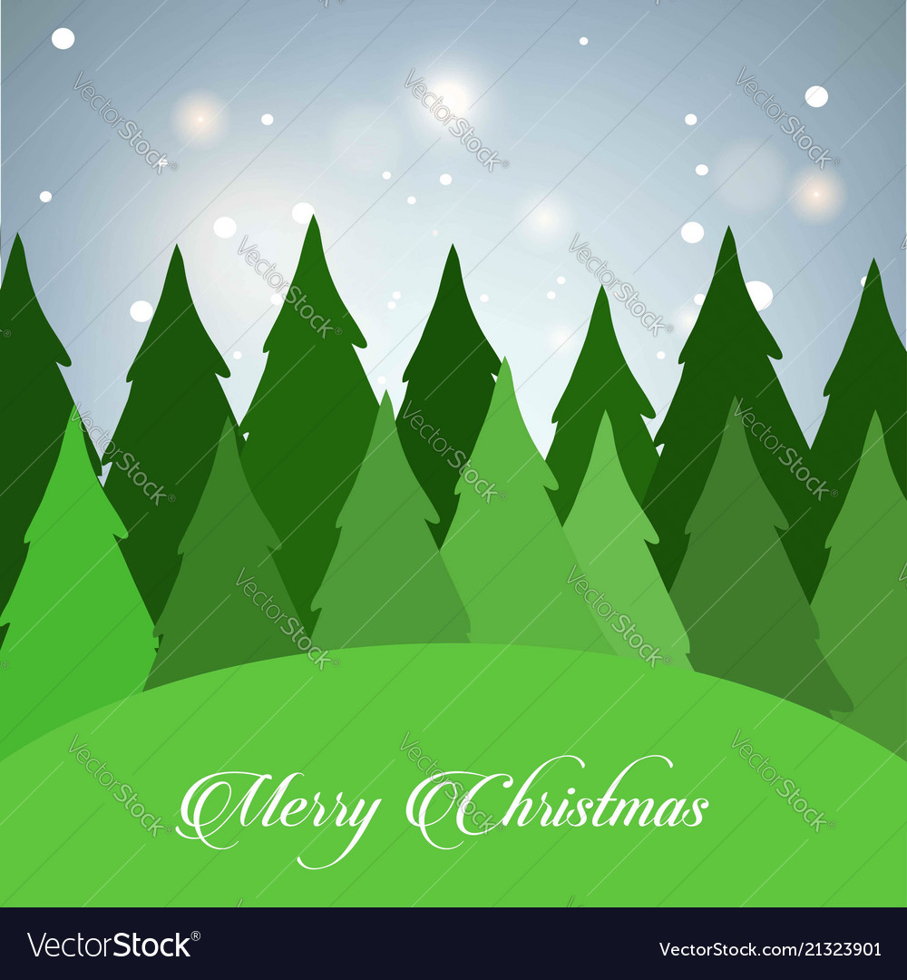 Christmas card with tree and glitters