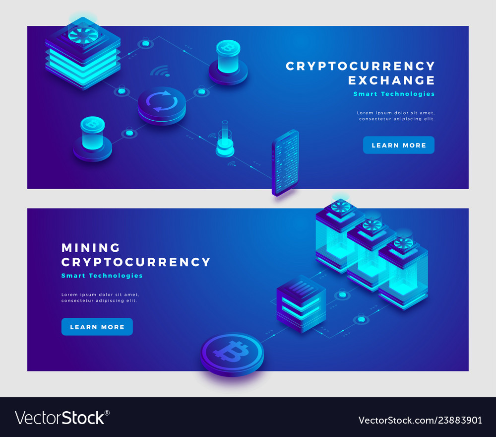 Cryptocurrency exchange and mining concept banner