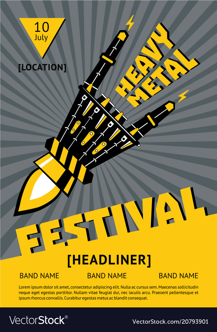 Heavy metal festival poster with robots hand rock