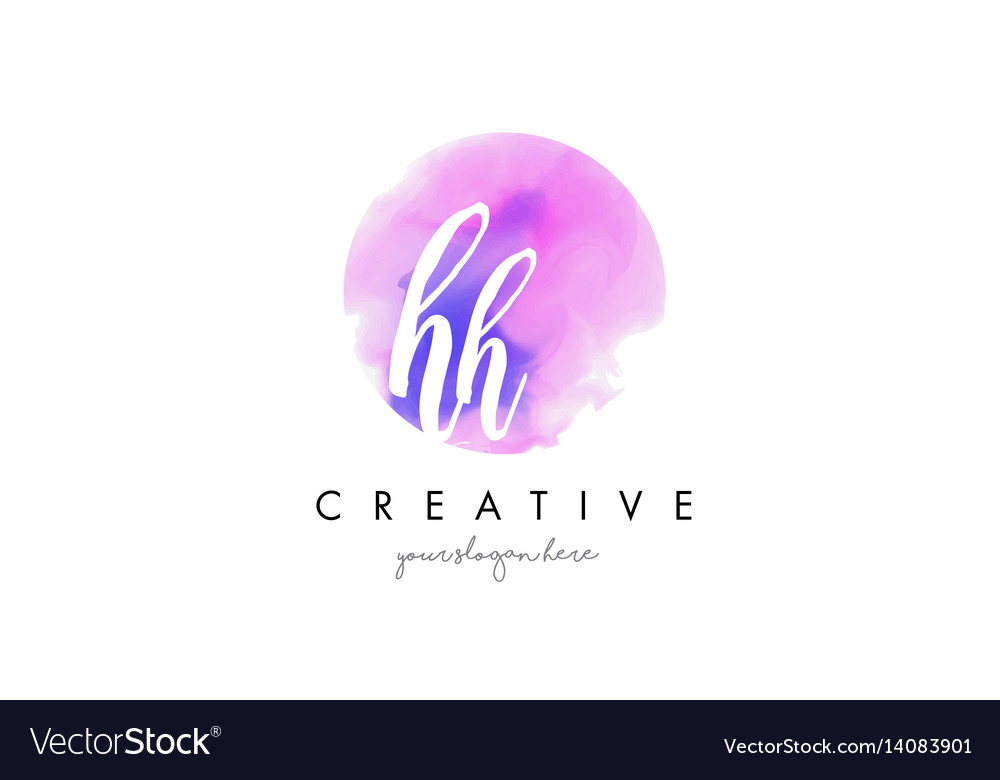 Hh watercolor letter logo design with purple
