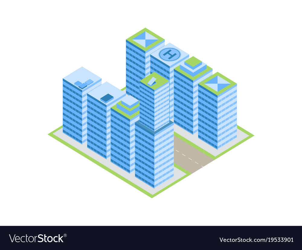 Isometric city street with houses