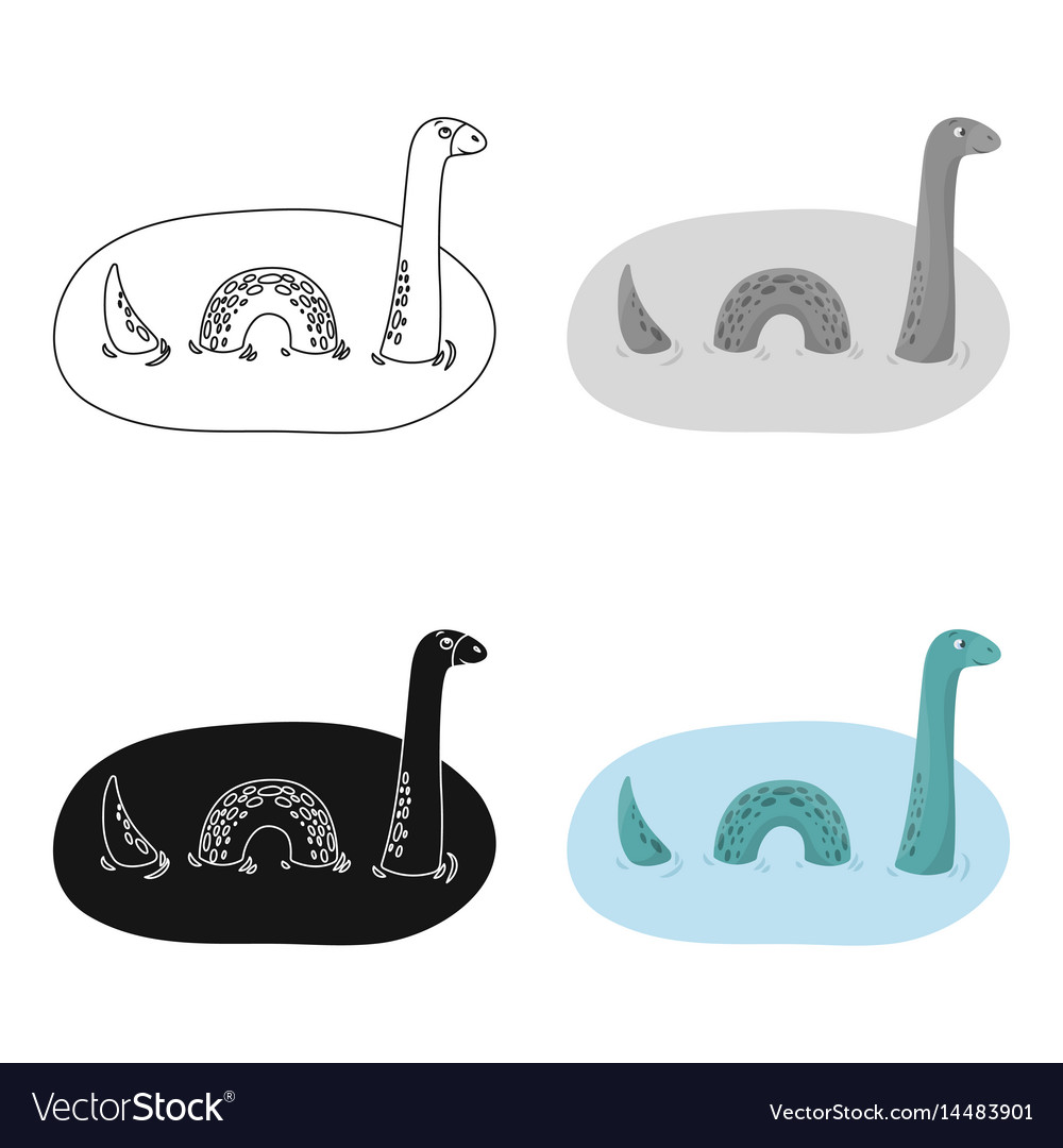 Loch Ness Monster Icon In Cartoon Style Isolated Vector Image