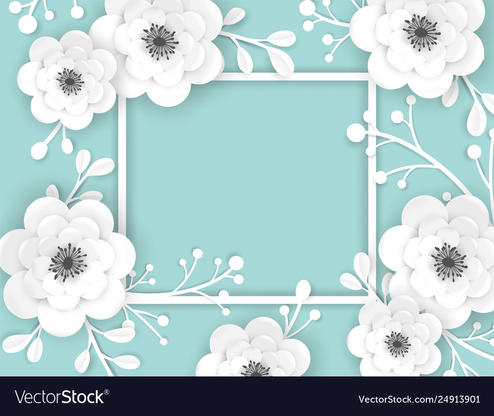 Paper cut flowers frame greeting card template vector