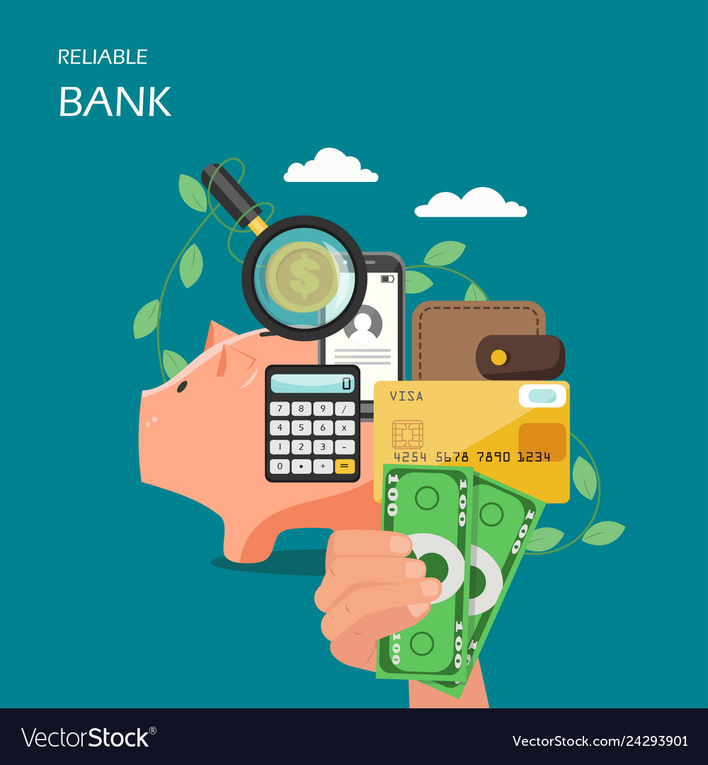 Reliable bank flat style design