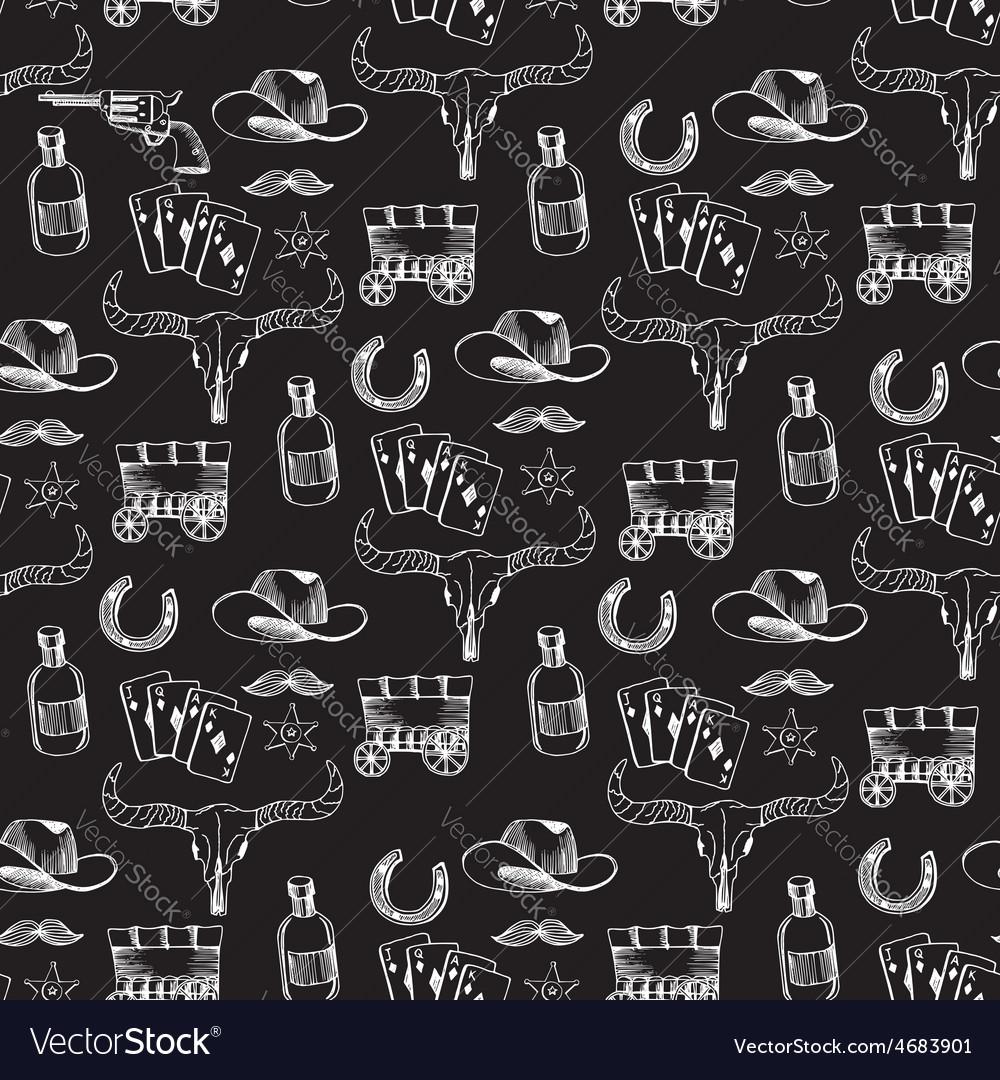 Seamless pattern background western cowboy