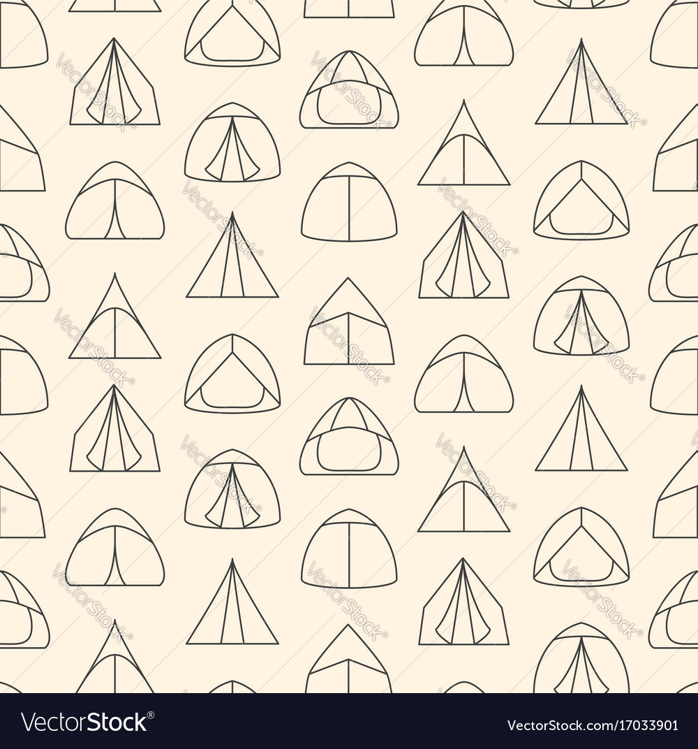 Seamless pattern made of line art touristic tents
