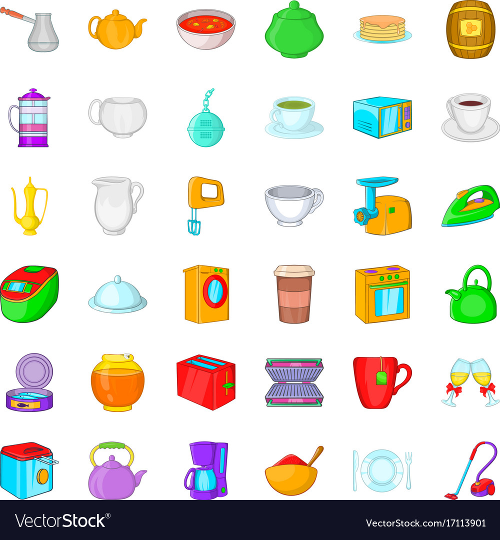 Utensil icons set cartoon style