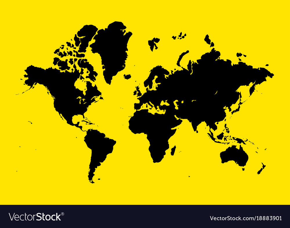 World map on yellow background royalty free vector image world map on yellow background vector image gumiabroncs Images