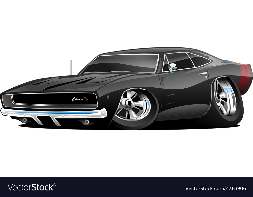 american classic muscle car cartoon royalty free vector rh vectorstock com cartoon images of muscle cars cartoon muscle cars for sale