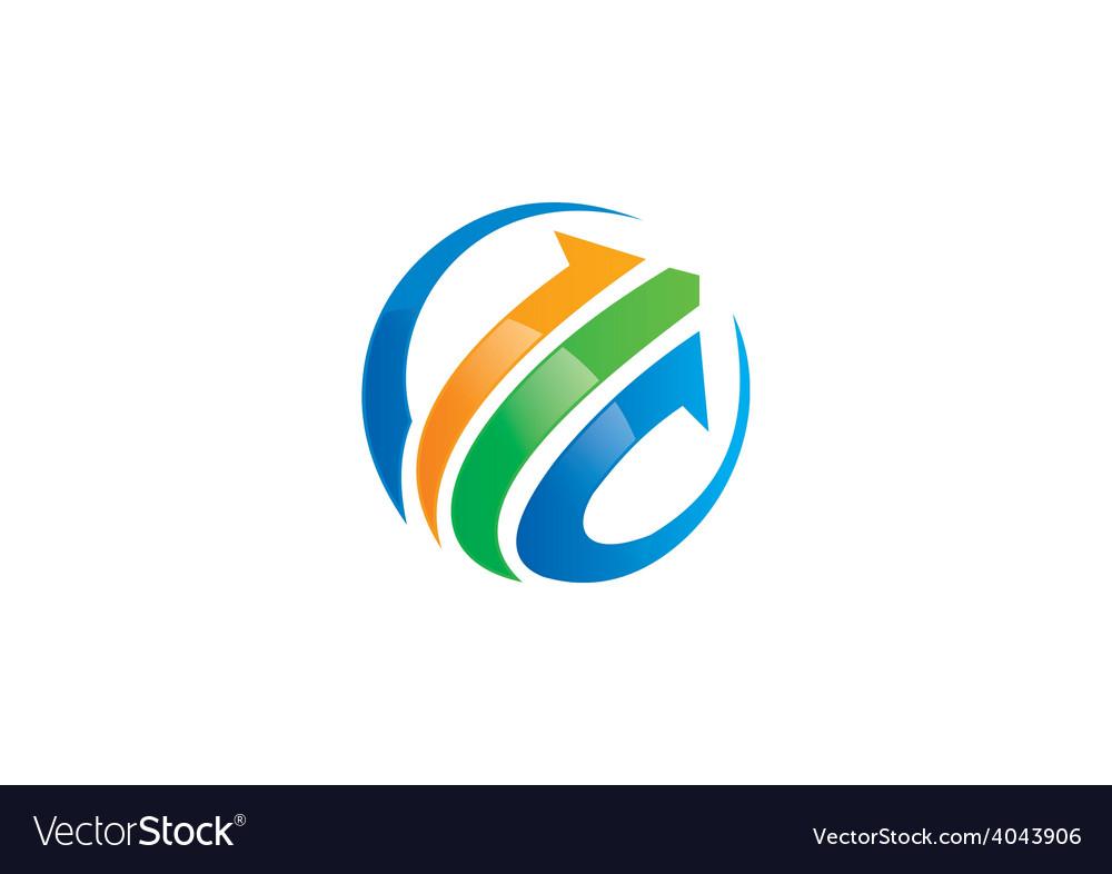 Arrow business finance globe logo