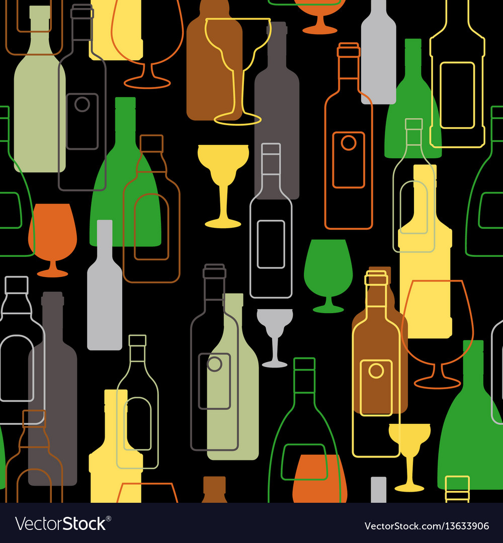 Bar colorful pattern with alcohol bottles vector image