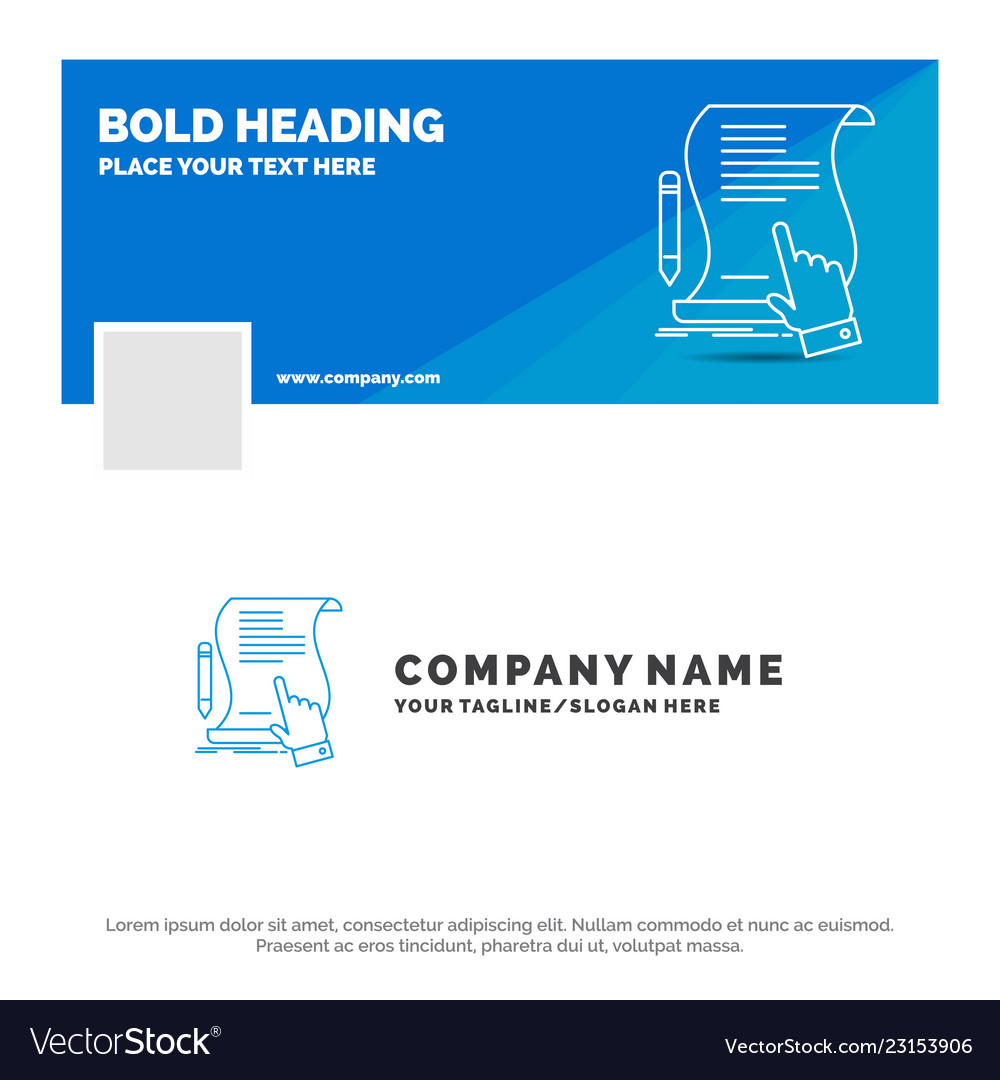 Blue Business Logo Template For Contract Document Vector Image On Vectorstock