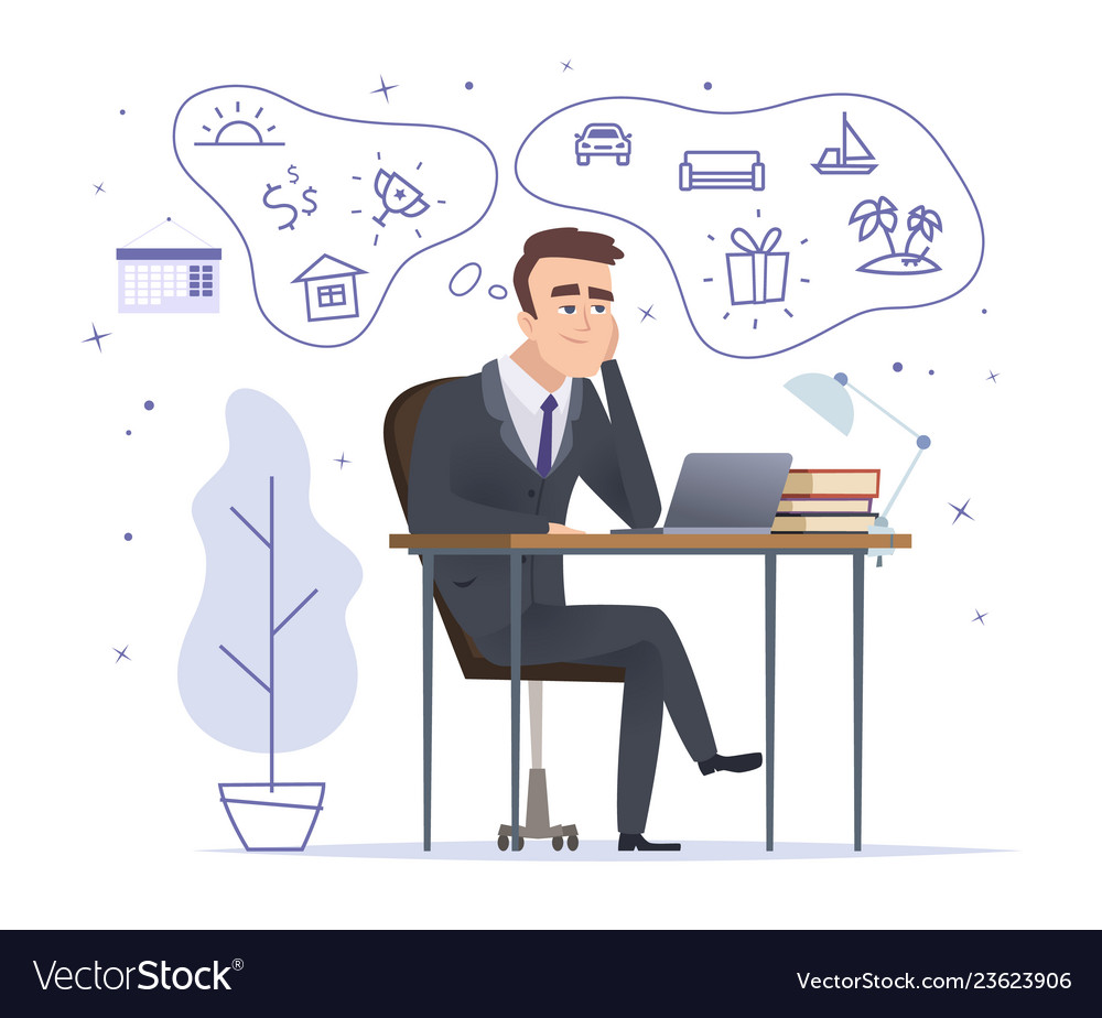 Businessman dreaming successful office manager