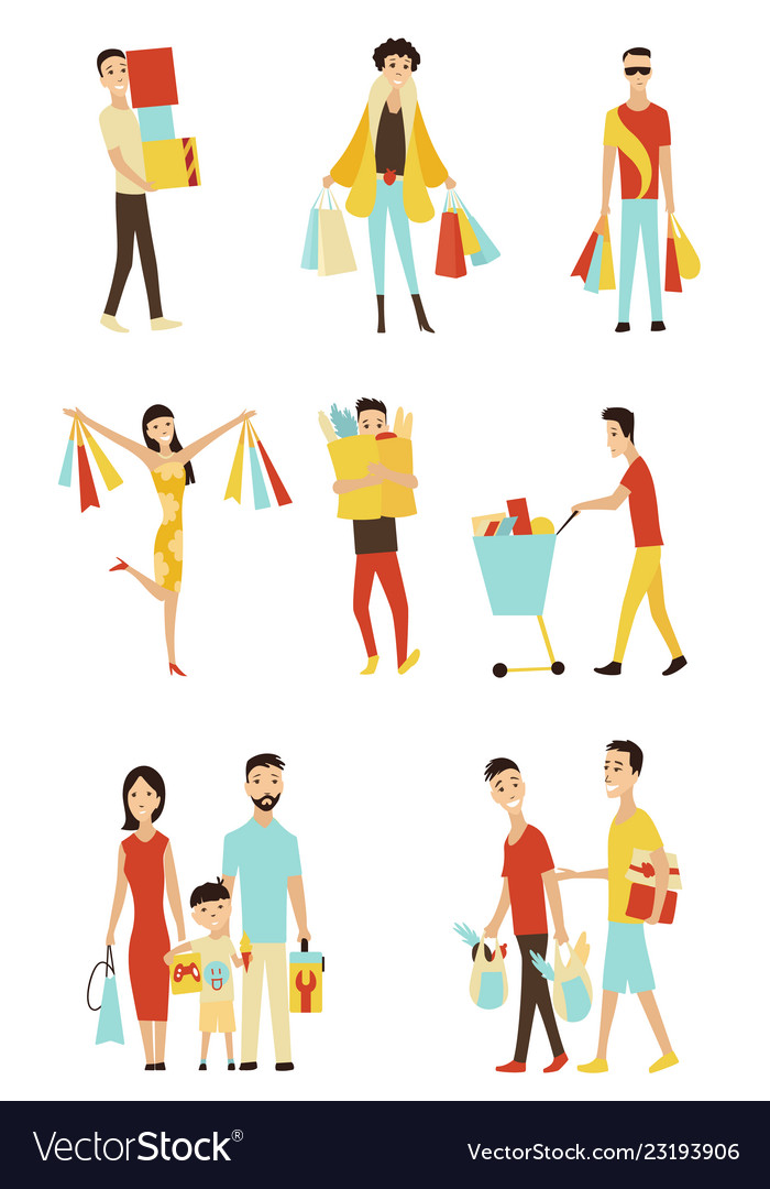 Cartoon shopping people with bags set sale