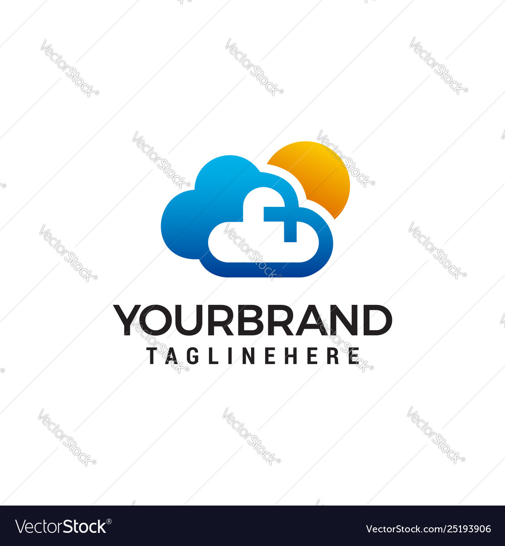 Cloud and sun logo design concept template