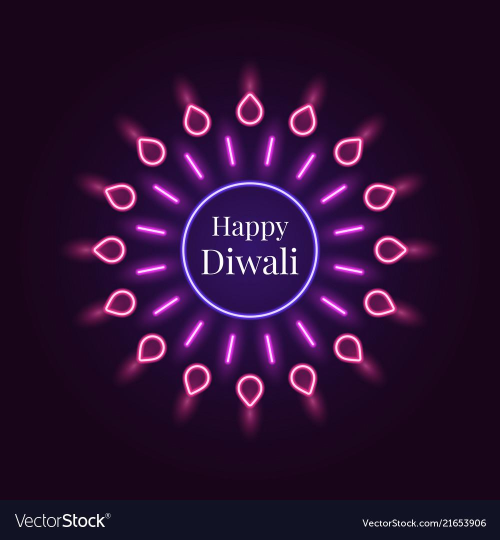Happy diwali banner in bright neon style