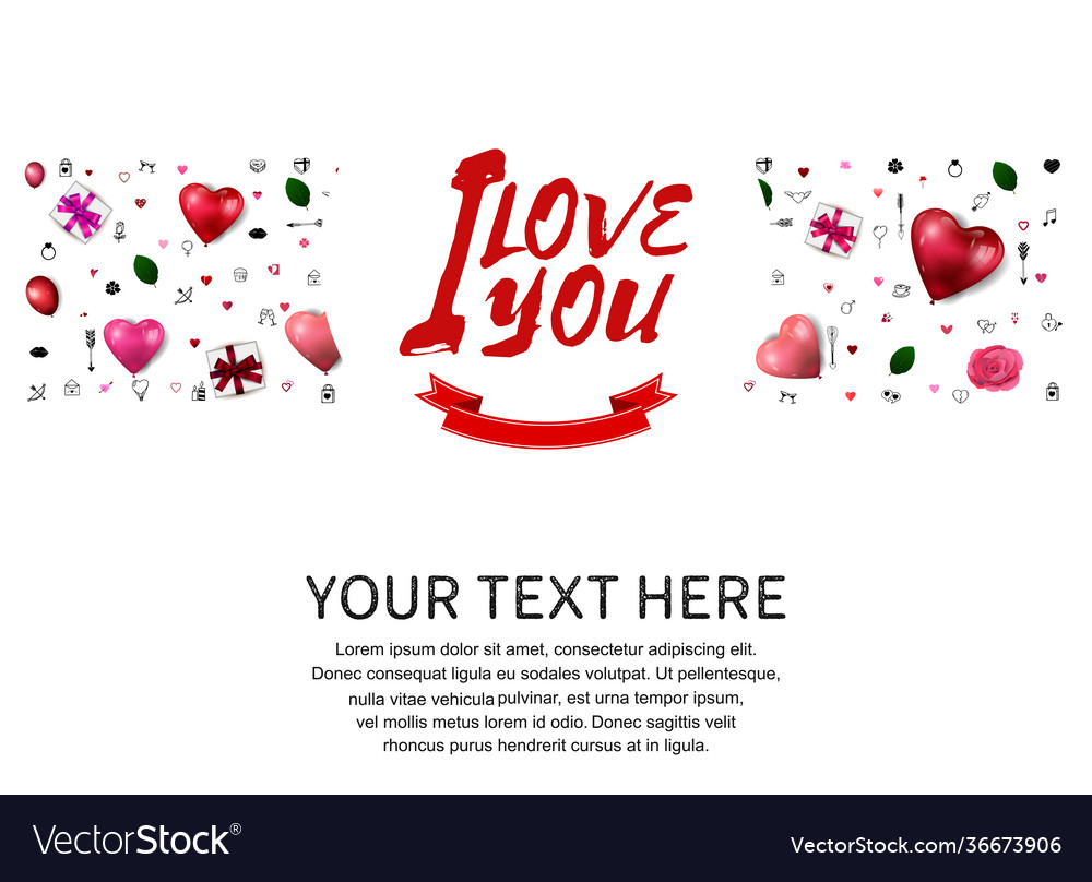 I love you concept with love element and red