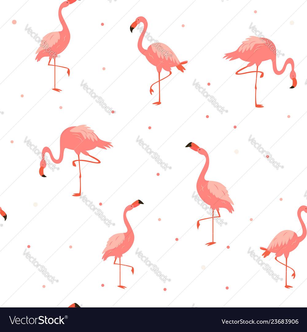 Seamless hawaiian pattern with pink flamingos