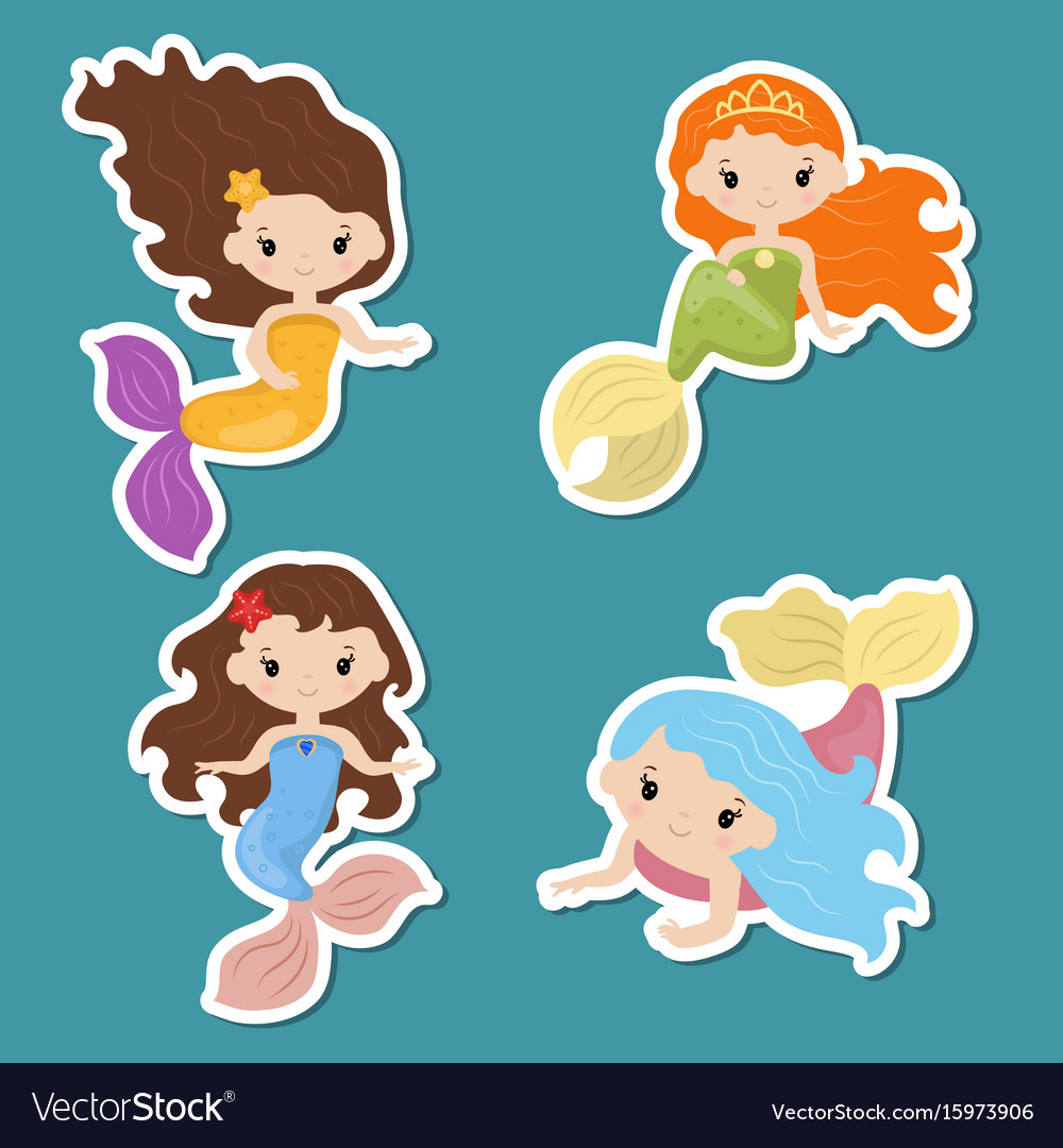 Set of cute girl mermaids stickers set of cute