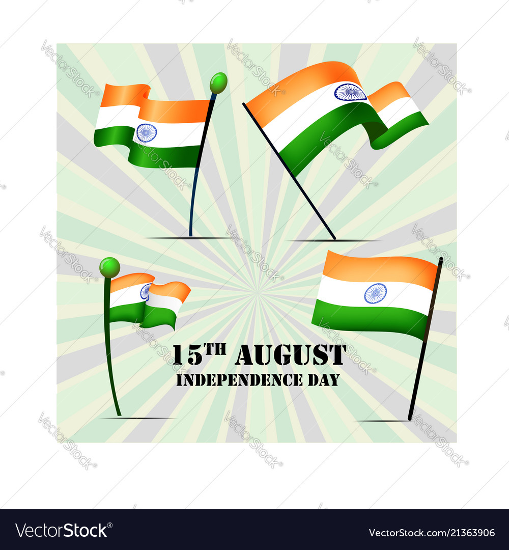 Set of four flags of india on independence day