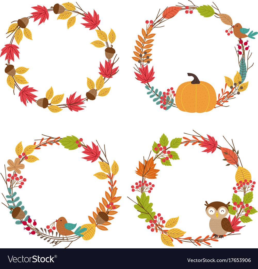 Set of isolated autumn frames vector image