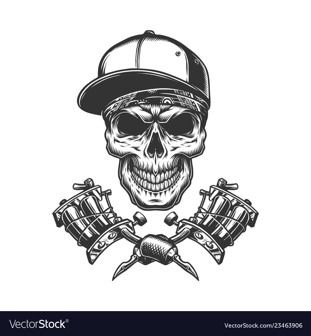 Skull in bandana and baseball cap