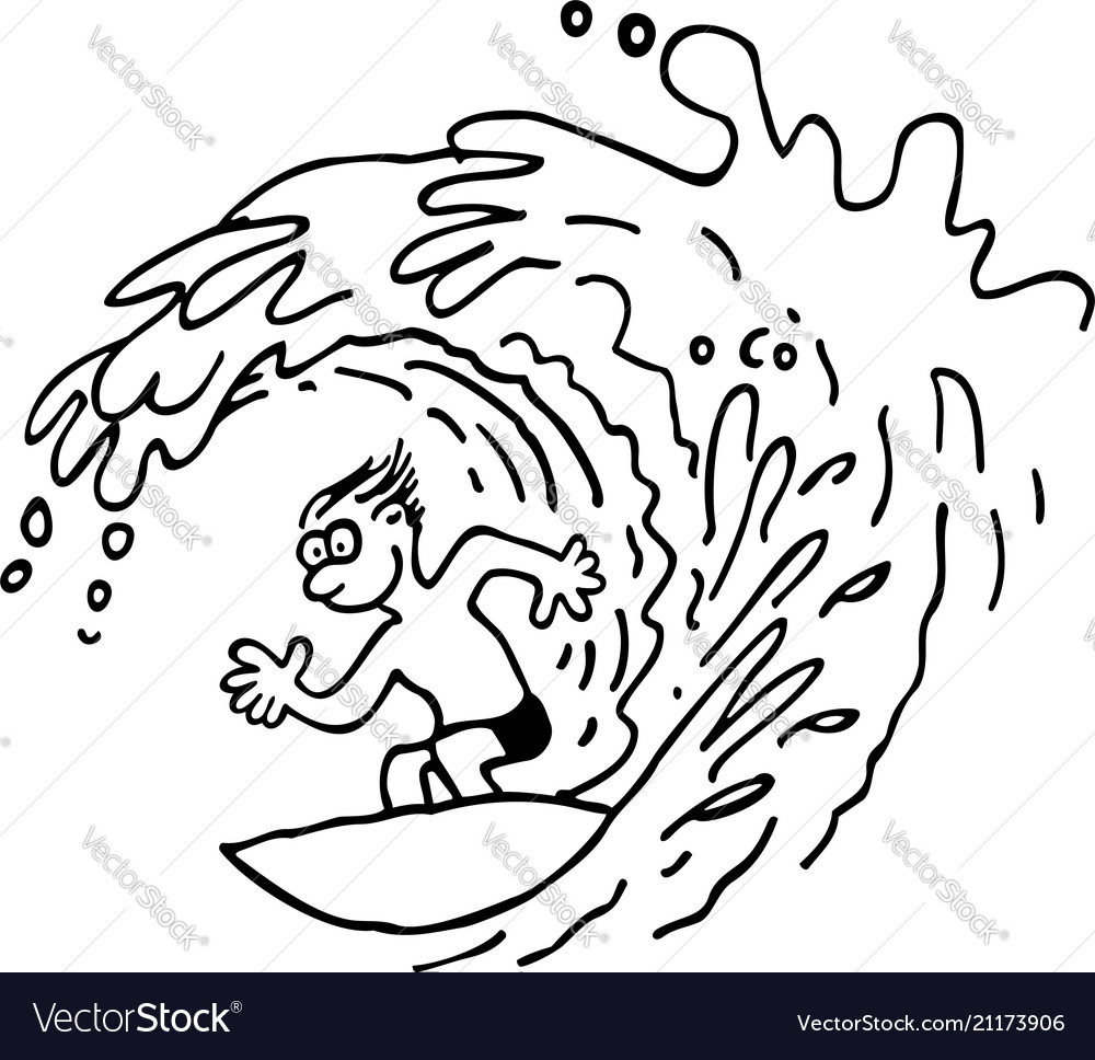 Surfing man outlined cartoon hand drawn sketch
