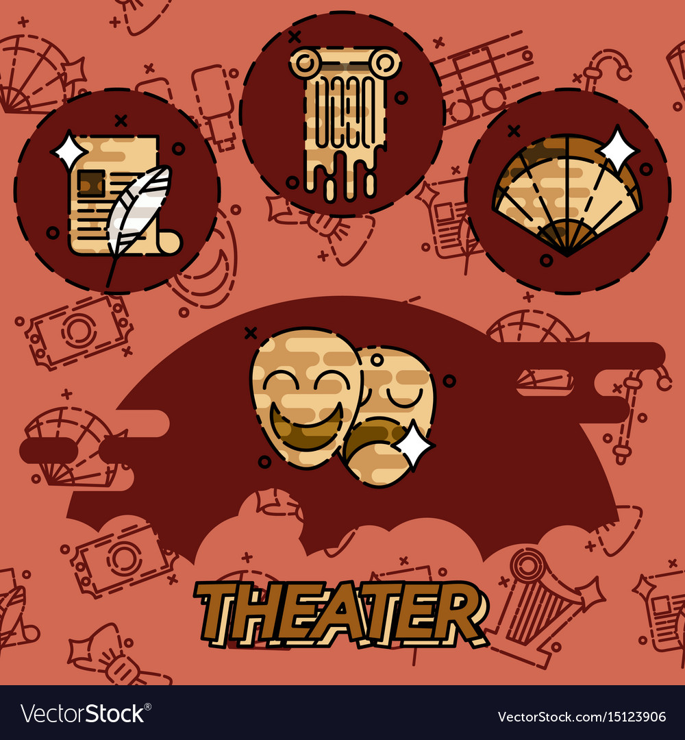 Theater flat concept icons