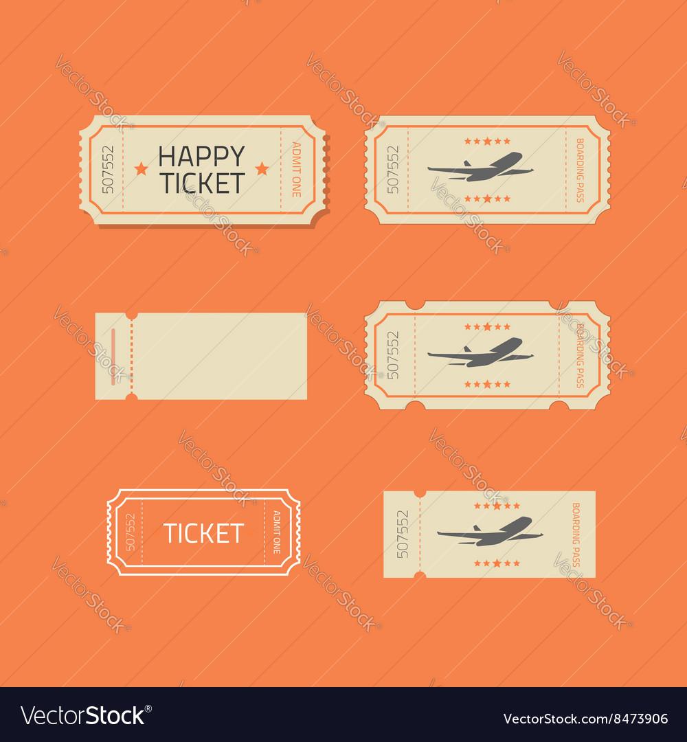 Ticket icons set isolated on orange
