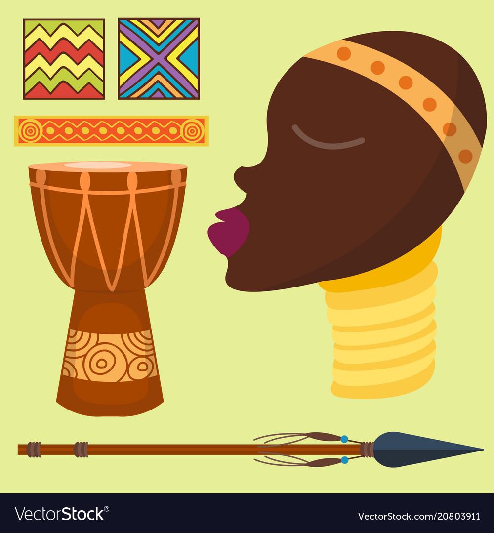 Africa icons jungle tribal and maasai