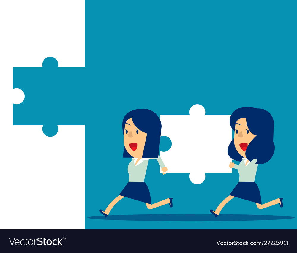 Business teamwork and jigsaw concept business