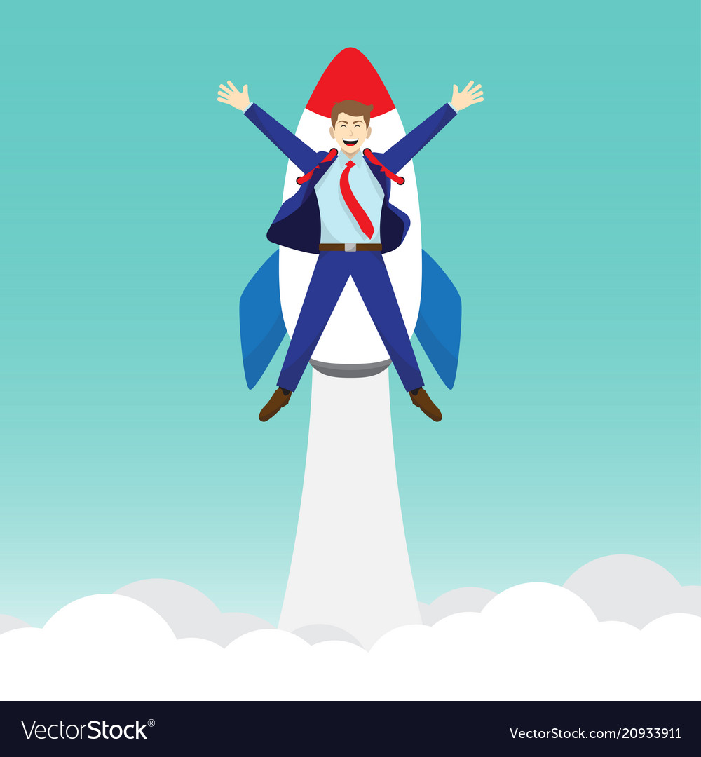 Businessman launching into sky by rocket