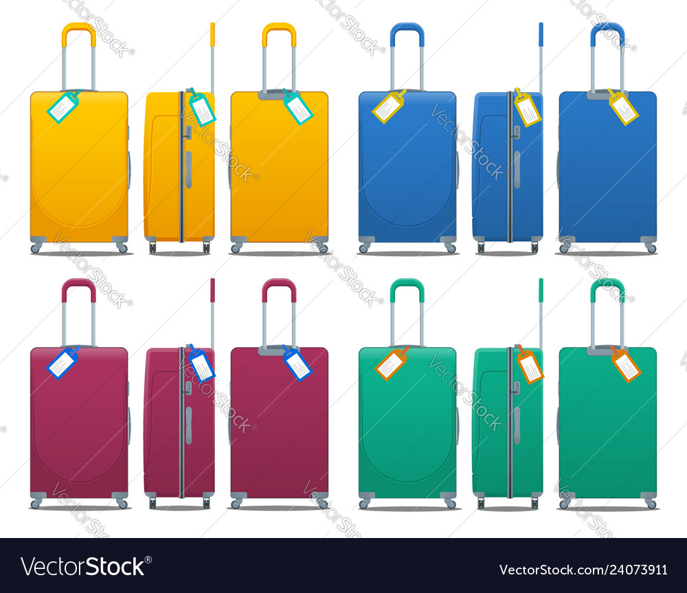 Colorful set of modern plastic suitcases with