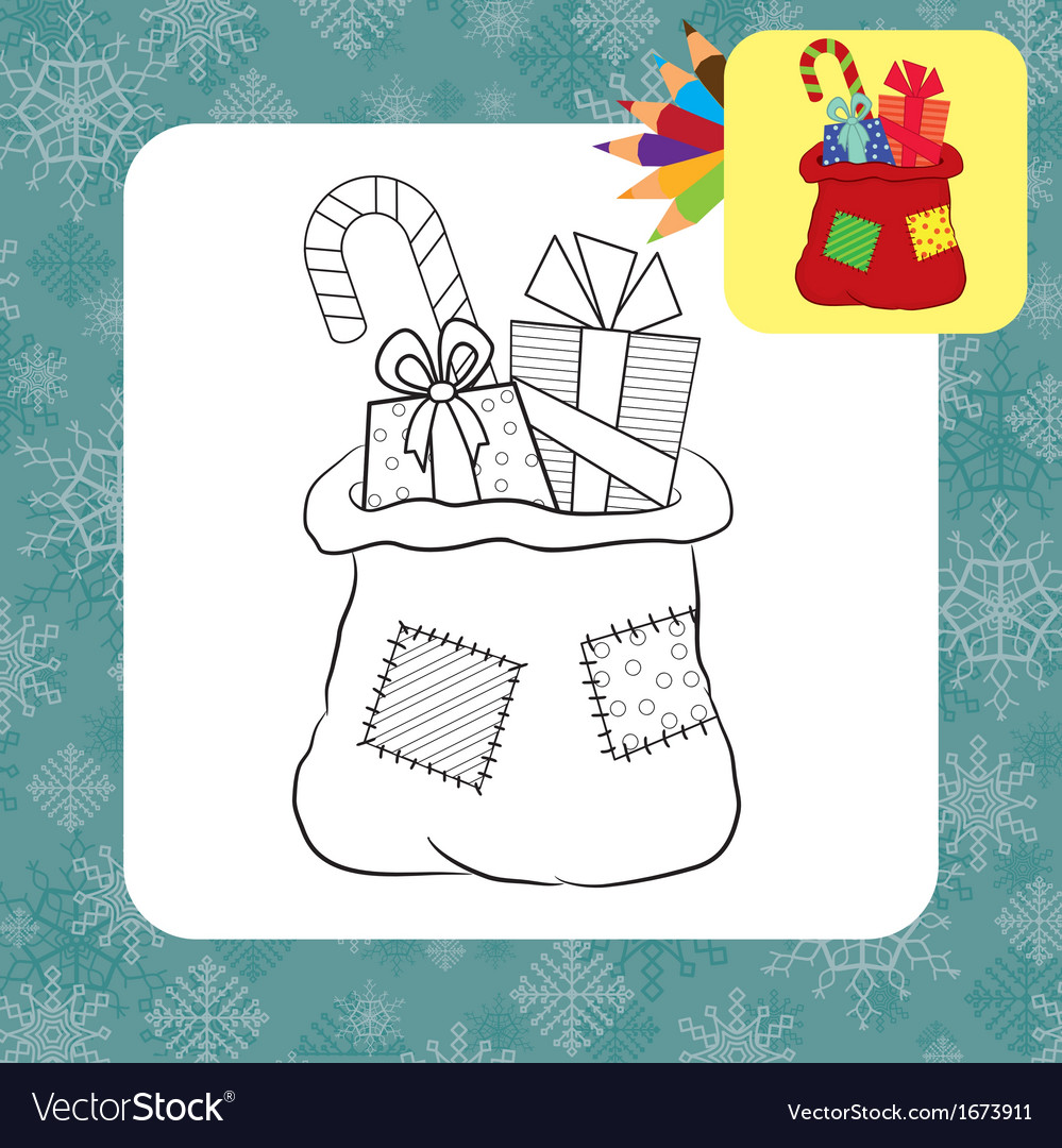 coloring page santa bag vector image