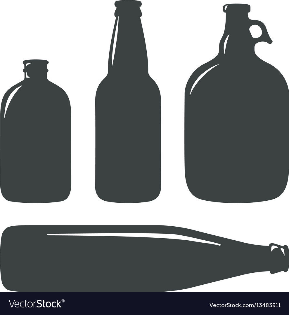 Craft beer bottles vintage brewery bottles sign vector image