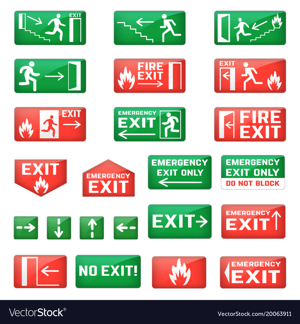Exit emergency exit sign and fire escape vector image
