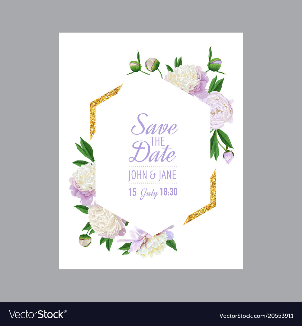 Floral Wedding Invitation White Peony Flowers Vector Image On Vectorstock