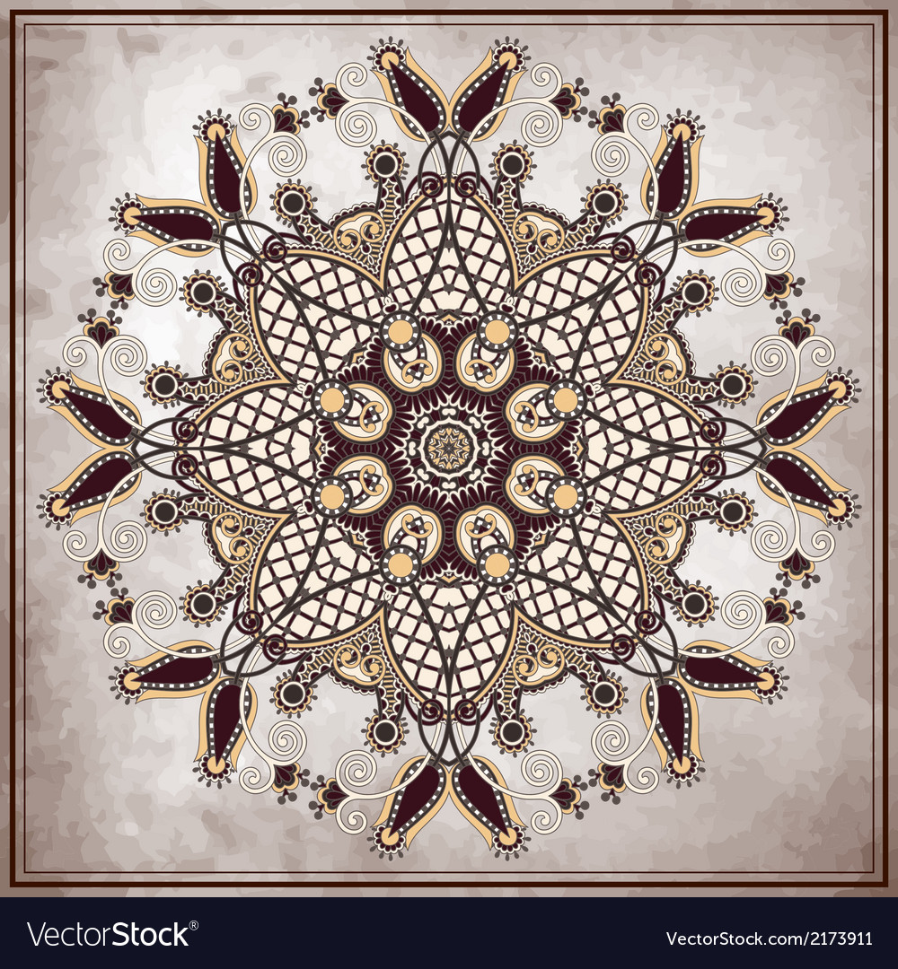 Flower circle design on grunge background vector image