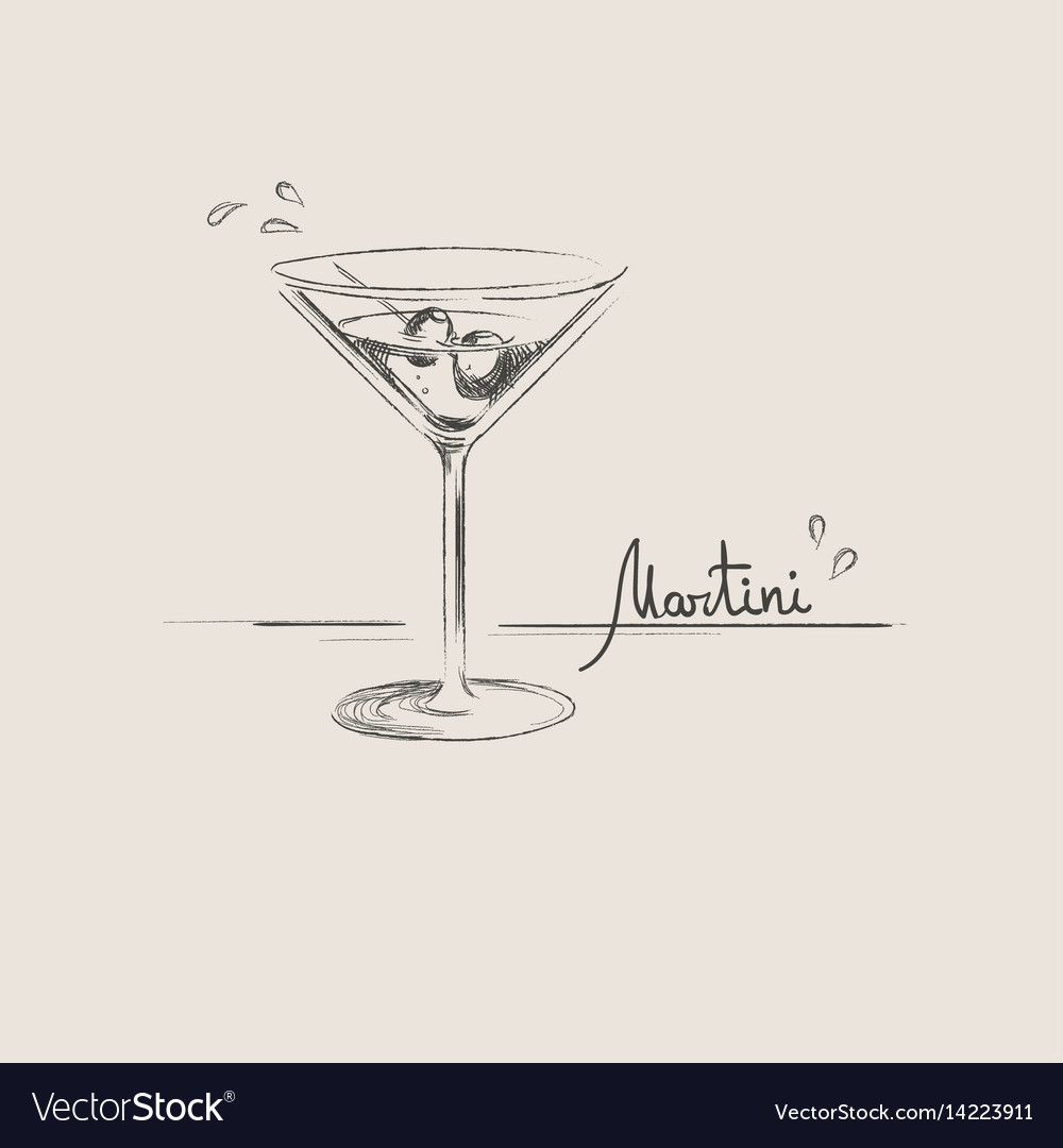 Hand drawn martini glass isolated