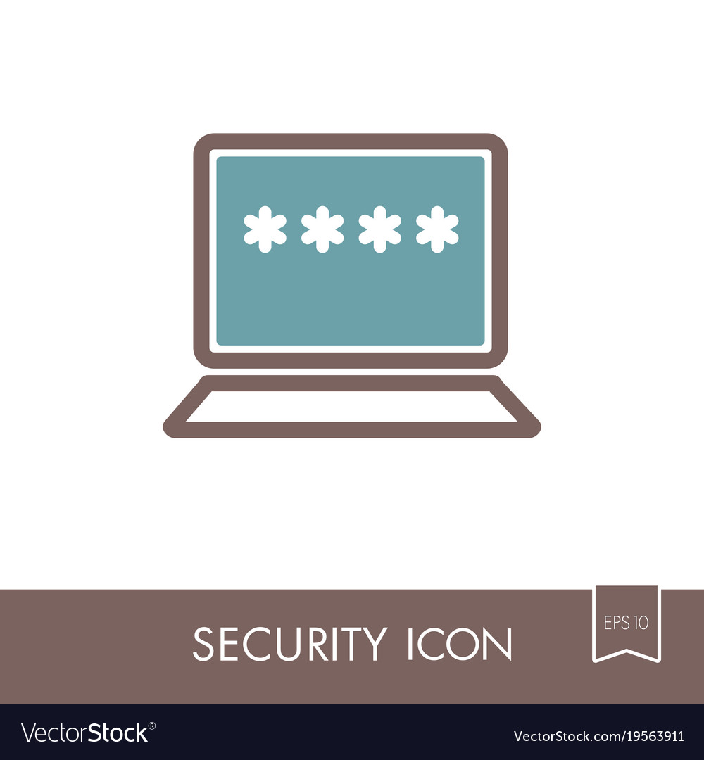 Laptop with password notification and lock icon vector image