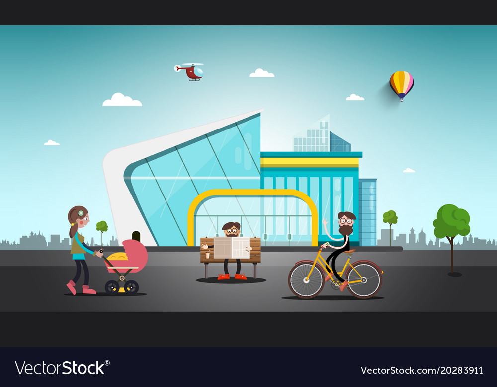 Modern building in abstract city people on street vector image