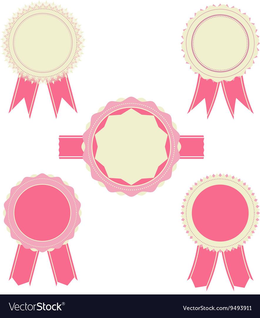 Retro pink color set of ribbon banner badges
