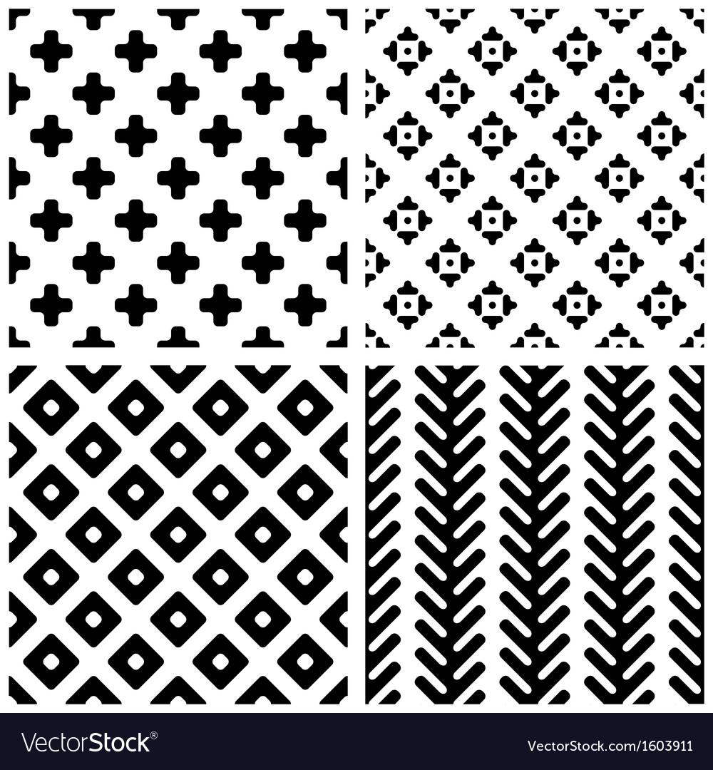 Set of 4 monochrome geometric seamless patterns